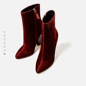 NWT ZARA Brick Red Velvet Ankle Boots
